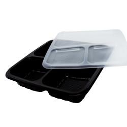 40 Oz. Three Compartment Food Container (300 Pcs) | BTB-3CN-BTM