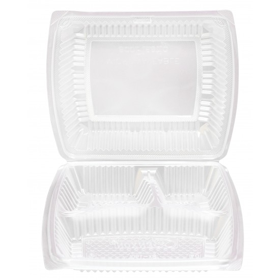 Three Portion Food Container with Hinged Lid (300 Pcs) | BX-190