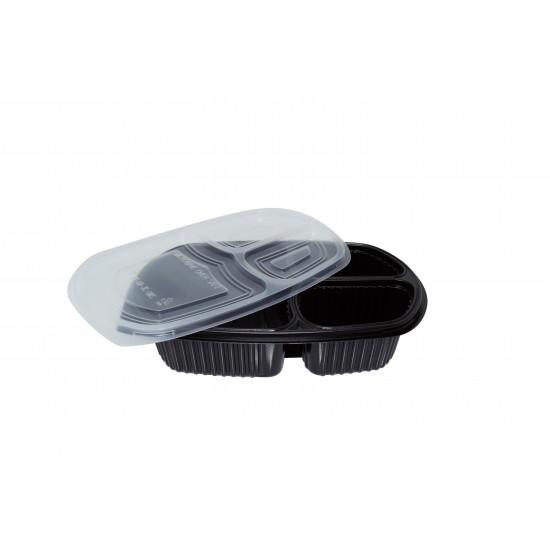 32 Oz. Three Compartment Food Container (400 Pcs) |BX-LB-3C-BTM