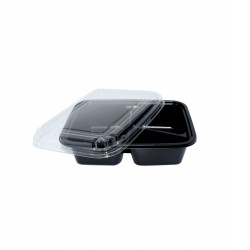 16 Oz. Three Compartment Food Container (800 Pcs) | JB-3C-BLK-BASE