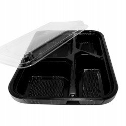 40 Oz. Four Compartment Food Container (600 Pcs) | JLB-4-BLK-BASE