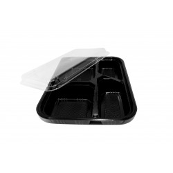 40 Oz. Four Compartment Food Container (600 Pcs) | JLB-4-BLK-BASE