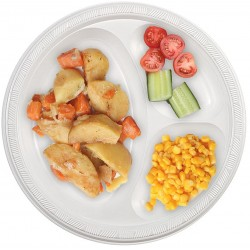 "Party Plate White 10"" 3-Portion (800 Pcs) 
