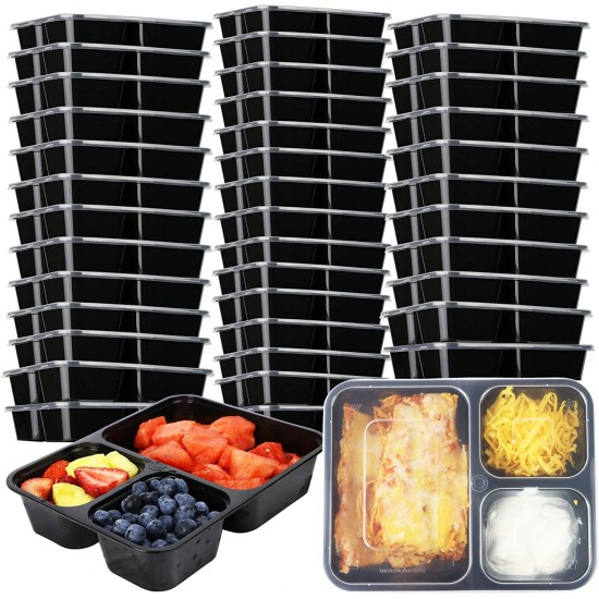40 Oz. Three Compartment Food Container with Lid (150 Sets) | TC-1200