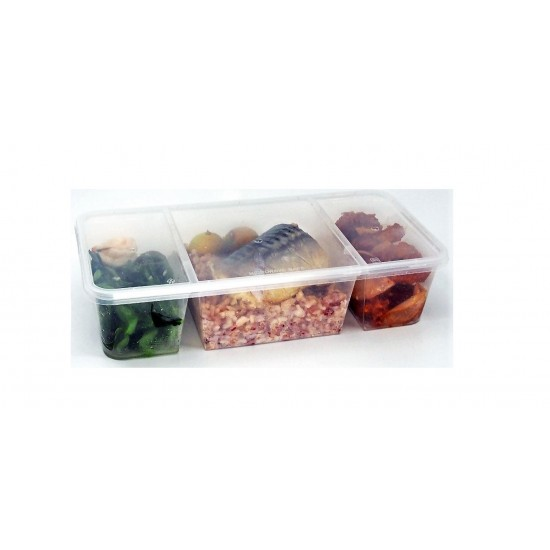 32 Oz. Three Compartment Food Container with Lid (150 Sets) | TC-1300